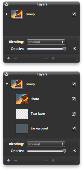 Pixelmator - Layer groups are visualized as a stack of the grouped layers so they are easy to identify.