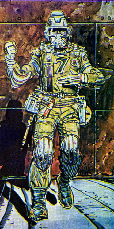 heyoscarwilde:  Astronaut spacesuit concept art for Ridley Scott's Alien by artist [Moebius].  1 of 3. Scanned from Fantastic Films (Blake Publishing Corp./1979)