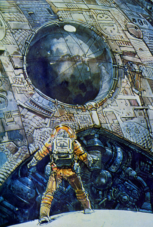 heyoscarwilde:  Astronaut spacesuit concept art for Ridley Scott's Alien by artist [Moebius].  3 of 3. Scanned from Fantastic Films (Blake Publishing Corp./1979) (note that this image showed up at the indispensable tumblr spot [Quenched Consciousness] a few weeks ago but this is the colour version and I'm thinking that point of difference is enough to work this up)