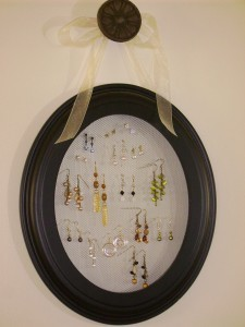 Picture frame as earring storage