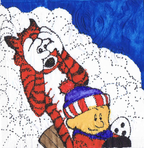 "kmkirby:  Sled magic. ""Dot to dot"" Calvin napkin art.  You can't have enough Napkin Art! Don't scroll past until you look at it closely … individual dots!  Can you imagine how long it took to do this?  Not on a piece of paper - on a napkin!"