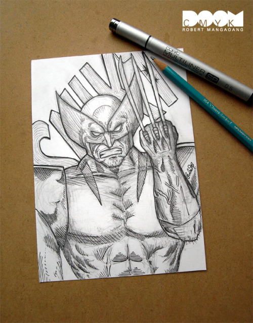 "http://www.etsy.com/listing/64672108/wolverine-1-of-1-5x7-drawing This is an original 1 of 1 drawing by Robert Mangaoang A.K.A. Doom CMYK.  Hand drawn with Sanford/Prismacolor pencils and Copic Multiliner pens.  Drawn on 5 inches by 7 inches acid free, heavy weight, smooth surface  300 Series Strathmore Bristol Board.This is the original 1 of 1  drawing. This drawing and others in this 5x7 series might be used for  larger digital color print editions at a later time.This Item also includes:(1) 2.5 inches by 3.5 inches Artist Trading Card #1 ""Undead Ghost"" (Modern Warfare 2's Zombie Ghost)(1) 2.5 inches by 3.5 inches Artist Trading Card #2 ""A Pet No More"" (Pokemon's Zombie Pikachu)**Because its the week of Christmas the item will not arrive before Christmas via First Class**This item ships within 3 days of receiving paymentShipping First Class: See below for the price breakdown on shipping to other countries.If you have any questions please contact me on Etsy.Thank you"