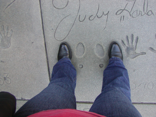 I look like Big Foot next to Judy's tiny little footprints.