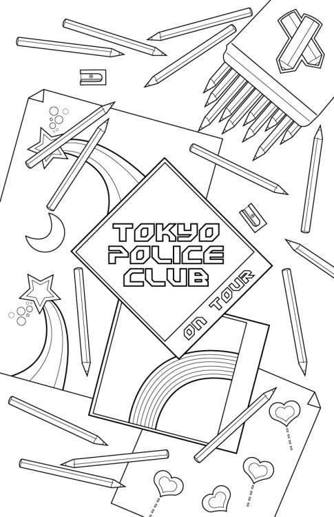 A design I did for the band Tokyo Police Club via Creative Allies. They wanted a black and white poster which people could colour in. If you like it feel free to vote for it here I used Illustrator to create this image.
