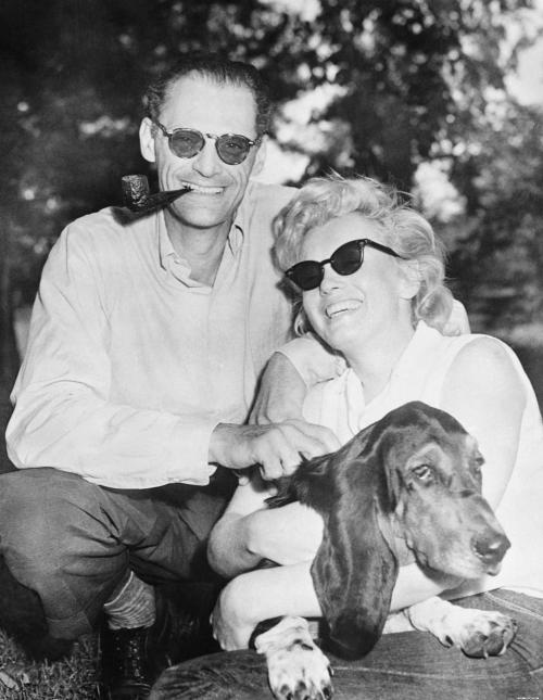 Marilyn with husband Arthur Miller and his dog, Hugo