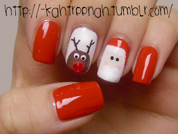 -kahtreenah:  chubby Rudolph & creepy Santa.  next nails :D