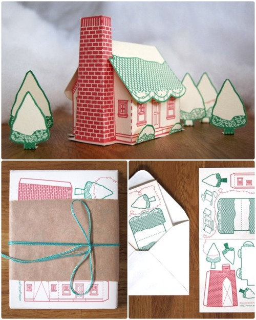 sweepmeup:  Holiday House Papercraft Cards Set of 6 by BraveFacePaper on Etsy