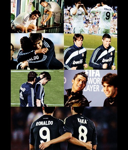 Kaka and Cristiano Ronaldo Their attractiveness and their obvious bromance can be incredibly overwhelming. It's okay, take all the time you need to ogle and get your shit together. They both play for Real Madrid [and for all you people who are outraged that I don't have the proper accents, cool your seveches; I'm lazy and don't feel like putting them in. And let's be honest, you're clicking for the picture, not our fantastic commentary] and if you get the chance to go youtube videos of them warming up/stretching/evaporating underwear everywhere, enjoy cause it's sexy and adorable. They leap frog over each other and giggle and it's too much to handle. Even when they play against each other, Brasil against Portugal, their bromance takes precedence. Can you imagine them after a match, in the locker room, and then the locker room showers? Yeah, you're welcome. Can you tell I'm a fan?