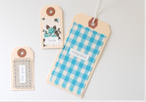 diy pretty fabric scarp gift tags.