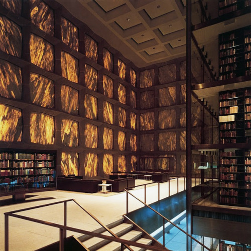 Yale University's Beinecke Rare Book and Manuscript Library is the largest building in the world dedicated to the containment and preservation of rare books, manuscripts, and documents. It was designed by Gordon Bunshaft of Skidmore, Owings, & Merrill (SOM) and is located in New Haven, Connecticut.