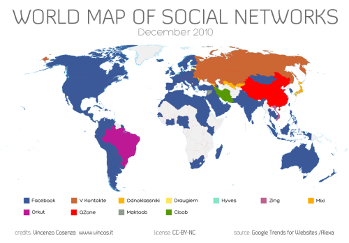 "World Map of Social Networks Via The Society Page's ""Cyborgology"""