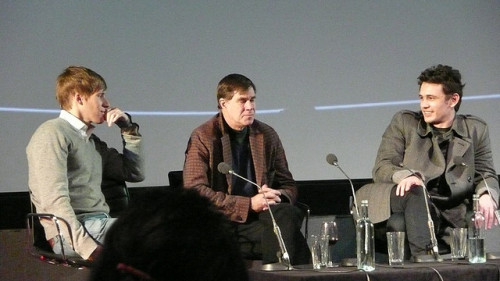 "Taken by me at a Q&A session and screening of ""Milk"" in London Dustin Lance Black, Gus Van Sant & James Franco (by Serena Es)"