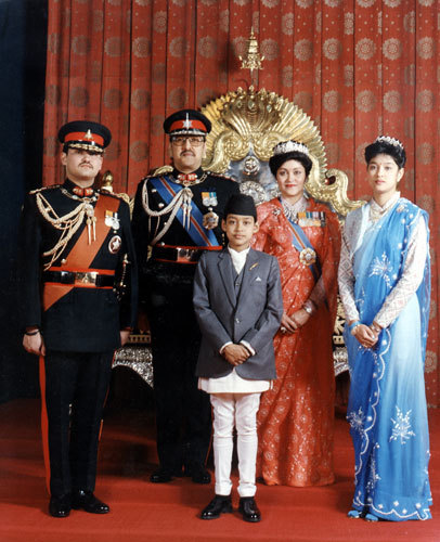 In 2001, Prince Dipendra Bir Bikram Shah Dev of Nepal (far left) got drunk at a royal dinner and massacred, among others, everyone in this photo, committing patricide, siblicide and regicide.  He walked to a small bridge over a stream that ran through the palace, where he shot himself in the head.  He reigned as king for three days while he lingered in a coma.