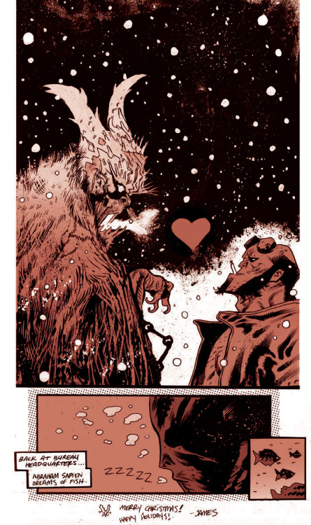 hello-zombie:  Hellboy vs. Krampus james harren  Just had to get in one more Krampus post while it's still Christmas!
