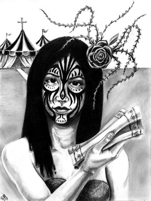 """Tattoo Face"" (24"" x 18"") Conté crayon on colored pastel paper. ©2010 thebrokenart"