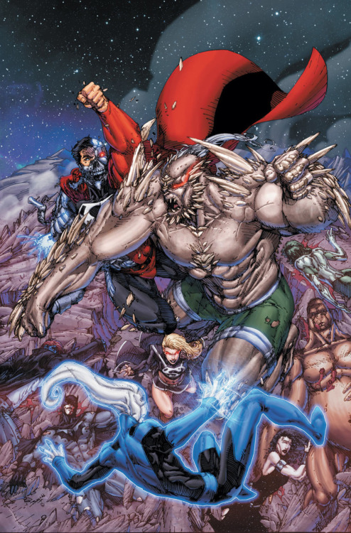 The Justice League of America lose to Doomsday, Cyborg-Superman, and Dark Supergirl on the cover to Justice League of America #55 from DC.