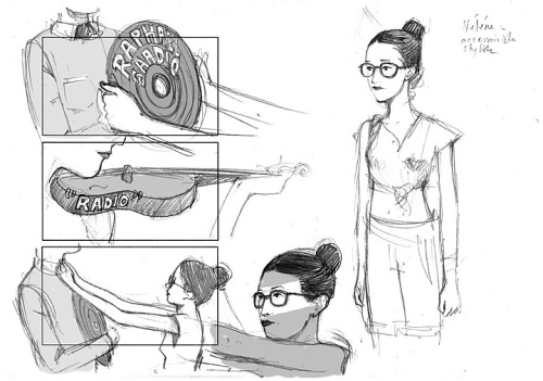 "Some sketches part of the storyboard made for the Raphael Saadiq music video titled ""Radio""."