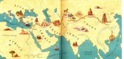 What is the Silk Road? The Silk Road, comprised of the various Silk Routes, was a vast network of interconnected land and sea trade routes that connected the Chinese Empire to Europe, dipping as far down as Java-Indonesia and even present day Southern Somalia. Traditionally speaking, the 'main' Silk Road thought of by most is represented by the above map - connecting the Yellow River Valley to the Mediterranean Sea; passing through many Central Asian cities throughout its winding journey. Many valuable items of trade passed through these routes - silk, spices, teas and porcelain from China; ivory, textiles, precious stones and metals and pepper from India.   With this blog I hope to take you all on a historical journey through the fascinating and vibrant cultures that spanned the Silk Routes - each rich with their own set of folklore and mythos, contributing to the splendor of historical Eurasia. I'll take you on tea tasting tours, visit merchants for their samples of silk, indulge in luscious wines, inspect the wares of the best jewel and weapon smiths; and of course appreciate fine art, good food and music along the way.  Join me as we discover art, music, culture, beauty, jewelry, weapons, clothing, history and poetry - all the little things that make up the splendor of the wondrous Silk Routes.