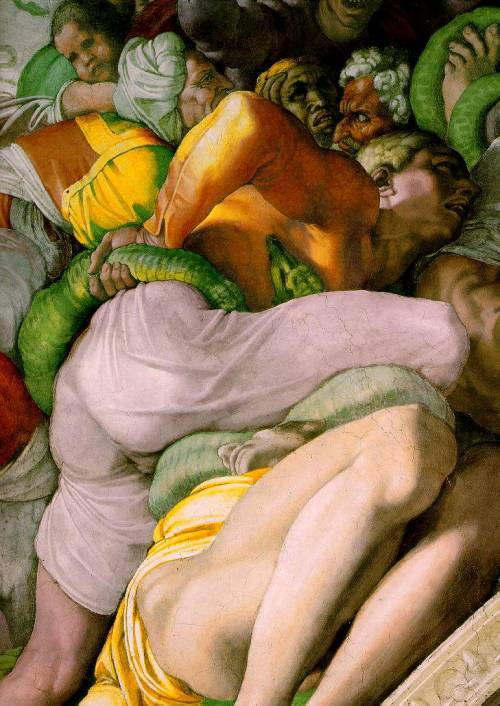 rhea137:  Michelangelo, The Brazen Serpent, Fresco, Cappella Sistina, Vatican, 1511  it's fun to know the pope is elected beneath that.