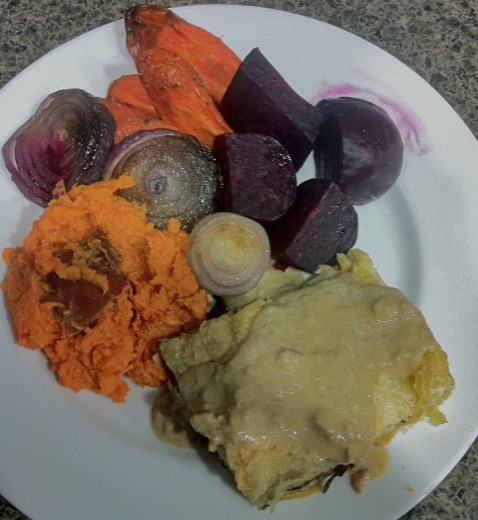 Reader Matt sent us this photo of Sugar Plum Vegan Café's Festivus dinner! Way to go, Sacramento!