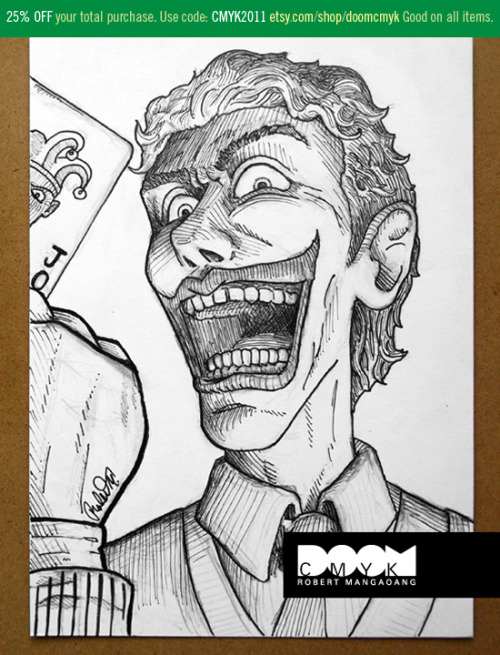 My pencil/pen Joker drawing. Check it out at: http://www.etsy.com/shop/doomcmyk