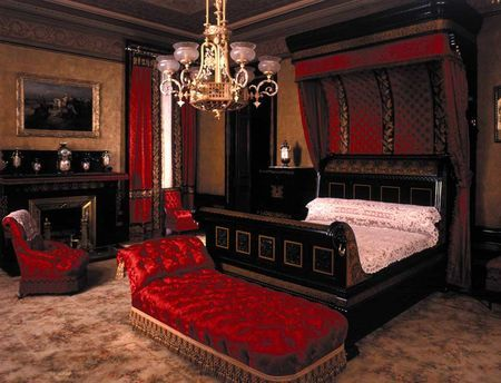 Master bedroom of the Worsham-Rockefeller residence at 4 West 54th St. And inspiration for the (far less grand) living room of my new apartment.  Though it is surprising, and rather sad, the limited selection you'll find when searching for a red couch!
