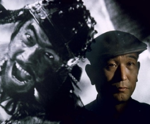 "Akira Kurosawa standing before a projected image of his favorite leading man, Toshiro Mifune (1963, photo by Brian Bake) ""During youth the desire for self-expression is so overpowering that most people end up by losing all grasp on their real selves."" -Kurosawa, in his 1982 memoir Something Like an Autobiography"