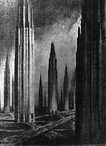 from Hugh Ferriss' Metropolis of Tomorrow via johncoulthart.com