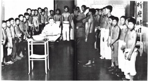 Physical exams at Angel Island. After being assigned a barrack and bunk, new arrivals underwent a medical examination shortly after reaching the island. Unfamiliar with the language, customs, and Western medical procedures, the examination was often characterized by newcomers as humiliating and barbaric. Photo Sources: National Archives