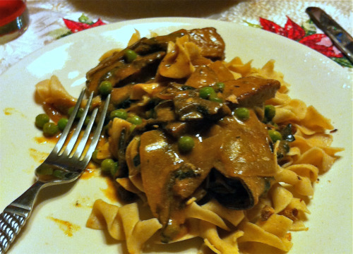 "Reader Danielle reports that her seitan portobello stroganoff from Vegan with a Vengeance made the kitchen smell so ""delicious when I was cooking [that] my 80-year-old grandma said, 'I think I'd like to try some of that.' Finally a victory at getting grandma try her first vegan food! and she liked it too!"" Congratulations, Danielle! That looks really tasty."