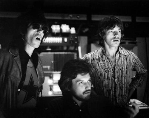 Keith Richards, producer Jimmy Miller and Mick Jagger Los Angeles, CA, 1969