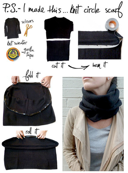 Turn a T-shirt into a scarf -P.S. I Made It! How to Make Your Less than Awesome Gifts Cools
