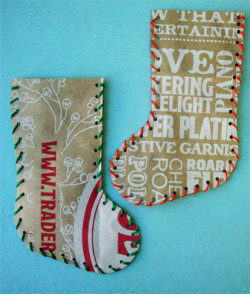 Love this idea! callaloosoup:  recycled paper bag stocking « make something happy