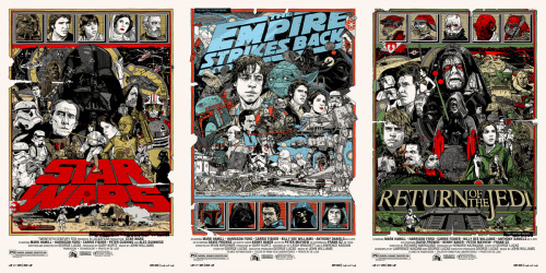 Tyler Stout's new original trilogy STAR WARS movie poster prints. via tstout.com