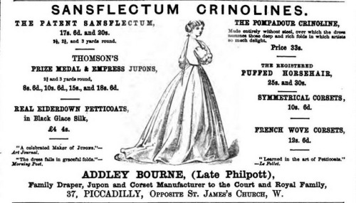 Vintage Victorian Advert for Crinolines - Ladies Magazine Jan 1866