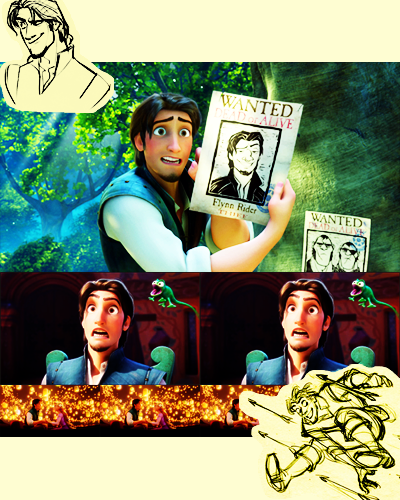 Flynn~~~ He could basically have been created just for me. hellyeahtangled:  dirndlkleid:  disney males ranked scientifically by dreaminess, #1b flynn rider/eugene fitzherbert, tangled (2010)  a fake reputation is all a man has.   Look, at some point during the development of Tangled, the people involved had a legitimate meeting solely dedicated to making Flynn hot.  So, he originally looked like this, and were like, WELL I GUESS HE NEEDS TO BE ATTRACTIVE, and so the current version of Flynn was born, scientifically engineered to be hella fine.  And certainly, these choices were to my taste: hair!  sleeves!  vest!  adorably expressive eyebrows!  These things, they are appealing.  Thanks, Tangled execs, you made a move I would like to send you some tokens of my undying gratitude for. In the spirit of being succinct: Ten reasons Flynn is the greatest, and claimed his portion of the #1 spot on this list mere moments into the film: rakishly handsome, see: my childhood adoration of Dimtri   voiced by Zachary Levi, a dreamboat in his own right totally a dork underneath his suave exterior king of hilarious one-liners, the quickest of wits if you are about to see the lantern ceremony you have dreamed about your whole life, he will make sure you get the best seat in the fucking house.  loves books and stories enough to name himself after his favorite character from one open to new things, flexible, see: his quick understanding of the superiority of frying pans as a weapon. capable of recognizing when it is not his story (makes it explicit in the opening monolgue, even), no matter what sexist marketing ploys his production company tries able to see the levity in most any situation, brush things off with a well-timed joke or incredulous expression excellent taste in real estate, ambitious, wants a castle in conclusion, adorable and dashing enough that he snuck his way squarely into a foremost position in my heart.  XD Accurate