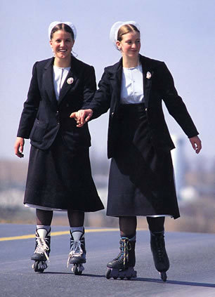 Clearly Amish women are still living in 1992 when rollerblading was kewl: Am I right? It's 2011 we have hover boards now … what? … Really? But we were promised :(