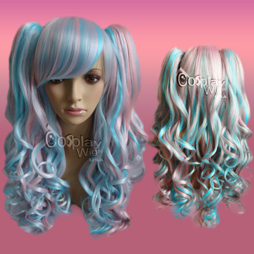 "Blended Pink & Blue Gothic Sweet Lolita Wig (On Sale for only $49.95 until 11:59 p.m. PST Friday, December 31st - This wig is made of the finest high temperature fibers and the ponytails are detachable. See more Gothic Lolita wigs here: http://cosplaywigsusa.com/gothic-and-lolita-wigs?page=shop.browse&category_id=27 Also, be sure to ""LIKE"" us on FB:  http://facebook.com/GothicLolitaWigs"