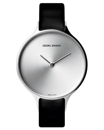 Georg Jensen stainless steel watch with calfskin strap, visit 	 	georgjensenstore.com ELLE Shops: The New Minimalism