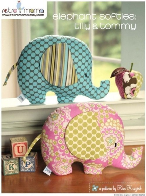 PDF Sewing Pattern Tilly and Tommy Elephant Softies by retromama