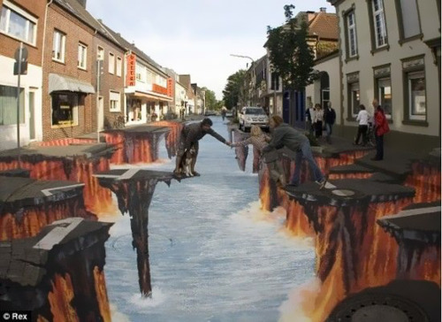 shut up. As if sidewalk chalk art wasn't already impressive enough, look how far into this distance this goes.