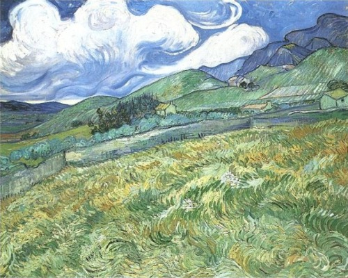 naranjitoo:  Vincent Van Gogh - Mountainous Landscape Behind Saint-Paul Hospital (1889)