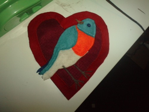 done about the Charles Bukowski poem, Bluebird.  I might make a cushion or something and put it on that, it is probably too big for a tshirt. - there's a bluebird in my heart that wants to get out but I'm too tough for him, I say, stay in there, I'm not going to let anybody see you. there's a bluebird in my heart that wants to get out but I pour whiskey on him and inhale cigarette smoke and the whores and the bartenders and the grocery clerks never know that he's in there. there's a bluebird in my heart that wants to get out but I'm too tough for him, I say, stay down, do you want to mess me up? you want to screw up the works? you want to blow my book sales in Europe? there's a bluebird in my heart that wants to get out but I'm too clever, I only let him out at night sometimes when everybody's asleep. I say, I know that you're there, so don't be sad. then I put him back, but he's singing a little in there, I haven't quite let him die and we sleep together like that with our secret pact and it's nice enough to make a man weep, but I don't weep, do you?