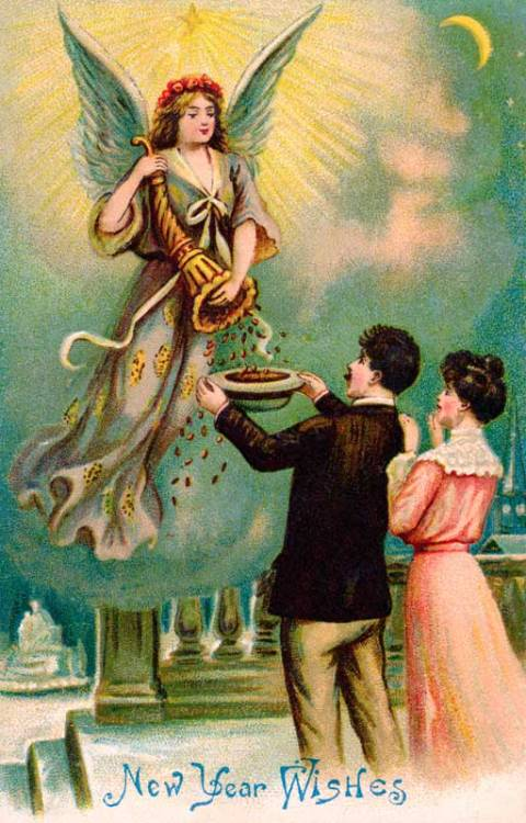 New Year Wishes ~ Money From Heaven ~ circa 1905 Vintage Card