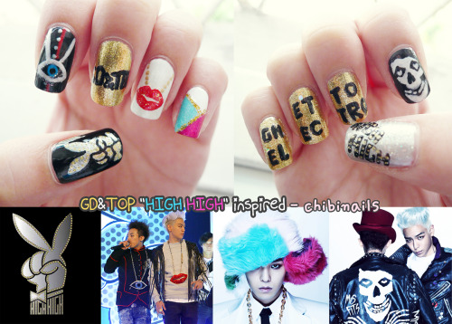 GD&TOP inspired nails to kick start 2011! ♥ ♥ ♥ ♥ ♥ feel so ghetto electro lolol