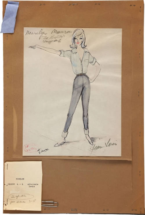 Jean Louis costume design and fabric swatch for Marilyn Monroe's character Roslyn Taber in The Misfits, her last completed film.  It's initialed by both Marilyn and director John Huston on the bottom left.