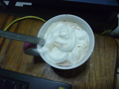 Dessert: Hot mocha and whipped cream!