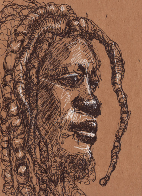 "Melancholy Dread, 6"" x 8"" ink and graphite on butcher paper Weary but strong."