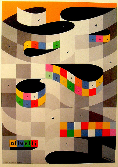 cartolleria:  hellotypewriter:1953 Illustration Poster HERBERT BAYER Olivetti Typewriter (by Christian Montone)