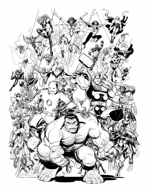 The original black and white linework to artist [Arthur Adams'] Avengers cover circa 2007. [via]